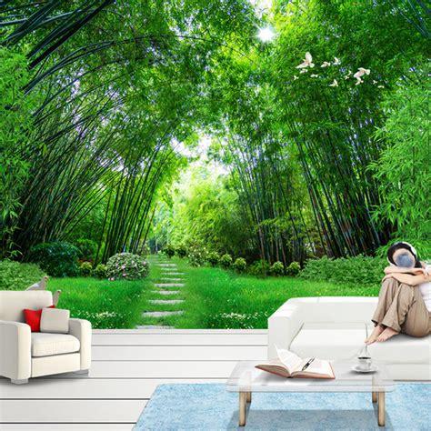 custom photo wall paper  green bamboo forest large wall