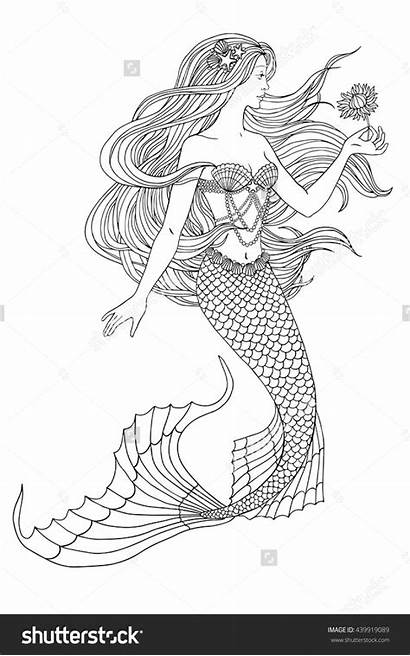 Coloring Mermaid Pages Shutterstock Flower Illustration Easy