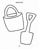 Shovel Template Sand Coloring Pail Sheets Bucket Colouring Recreation Frontiernet Clipart Computer Cliparts Sheet sketch template
