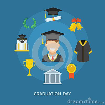 graduation day certification ceremony vector icons stock