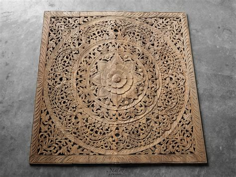 Buy Thai Wood Carving Wall Art Panel Asian Home Decor Online: Buy Floral Carved Plaque Single Headboard Online