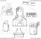 Cashier Grayscale Sketched sketch template