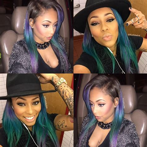Green Blue Purple Straight Ombre Hair Weave Hairstyle