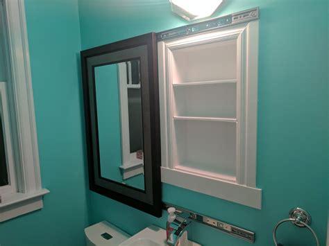 Bathroom Mirrors Medicine Cabinets Recessed by I Made A Recessed Medicine Cabinet A Sliding