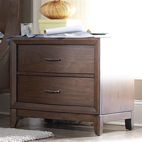 24 Inch High Nightstand by Oxford Creek Curved Front 2 Drawer Nightstand