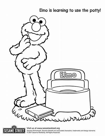 Coloring Potty Elmo Training Pages Printable Toilet