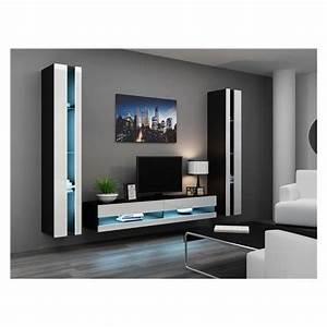 Meuble Design Tv Mural : ensemble meuble tv mural olermo noir et blanc achat vente meuble tv meuble tv olermo nr bl ~ Teatrodelosmanantiales.com Idées de Décoration
