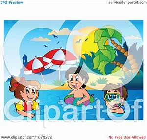 Clipart Kids Swimming Near A Tropical Beach - Royalty Free ...