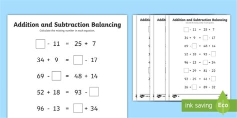 lks2 addition and subtraction balancing problems