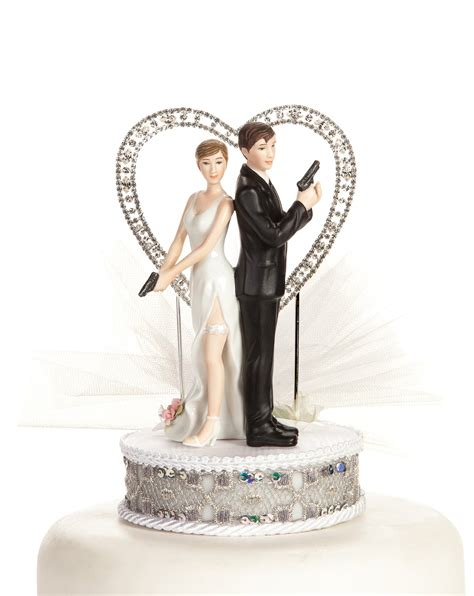 quot super spy quot rhinestone heart wedding cake topper