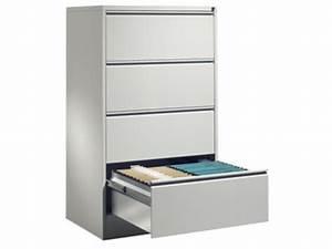 Meuble Tiroir Bureau : meuble bureau pour dossier suspendus 2 rails 4 tiroirs h 1350 x l 780 x p 580mm gris ral7035 ~ Teatrodelosmanantiales.com Idées de Décoration