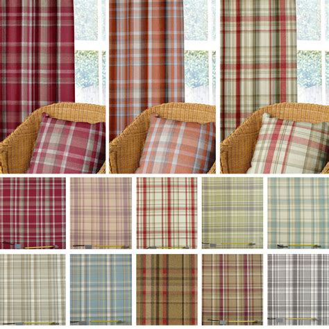 Tartan Plaid Drapes - wool effect thick tartan harris plaid upholstery curtain