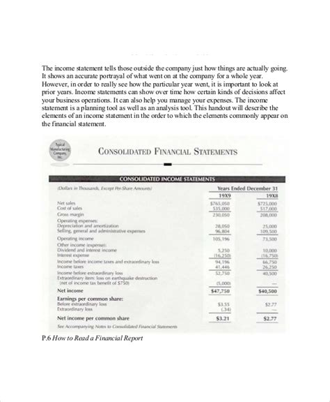 sample income statement format     word