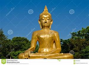 Golden Buddha Statue At Temple Of Thailand Royalty Free ...