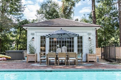 Hamptons Style Cabana Pool House Design Ocean Blu Designs