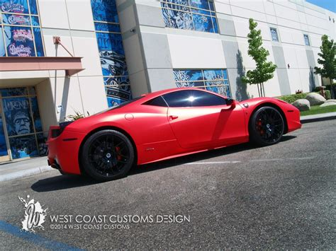 west coast customs shares   satin red ferrari