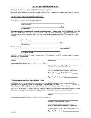 florida declaration  domicile form  lee county fill