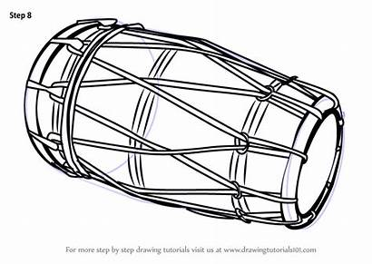 Dholak Draw Drawing Step Instruments Musical Tutorials