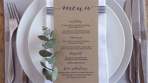wedding menu template  sample  format