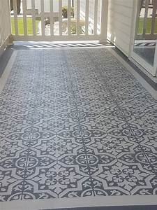 Diy stencil concrete patio rug crafty morning for Painting concrete patio stencil