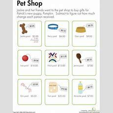 Making Change At The Pet Shop  Worksheet Educationcom