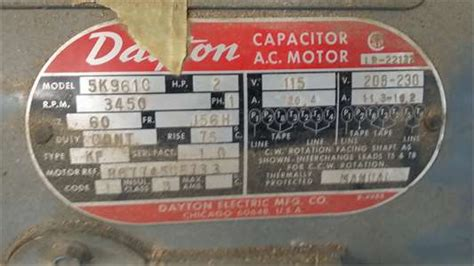 Assistance Wiring Dayton Continuous Motor