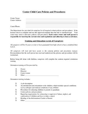 fillable center child care policies and procedures 603   100077110