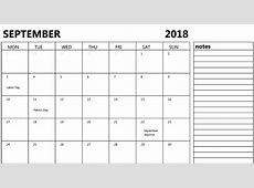 September 2018 Calendar with Notes Calendar Template
