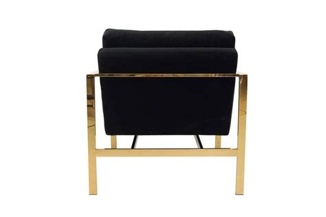 Black Velvet Chair With Brass Finished Frame For Sale At