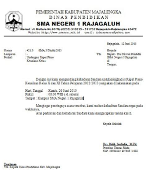 Contoh Surat Undangan Resmi Perusahaan by Contoh Surat Undangan Rapat Pleno Kenaikan Kelas Contoh