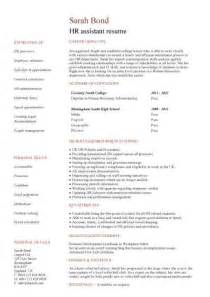 Hr Recruiter Resume With No Experience by Hr Assistant Cv Template Description Sle Candidates Human Resources Recruitment