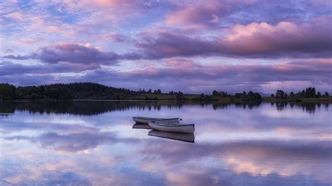 wallpaper lake boats skyline sunrise dawn loch rusky