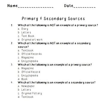 primary and secondary sources worksheets resultinfos