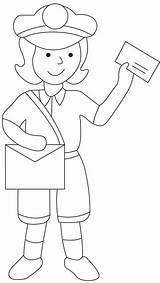 Postman Coloring Mailman Drawing Pages Sheets Mail Preschool Colouring Printable Postwoman Postal Worksheets Community Helpers Books Craft Sketch Crafts Bestcoloringpages sketch template