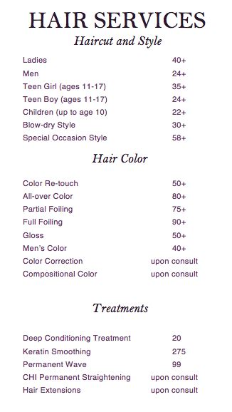 hair prices salon  ying ye salon menu salon business