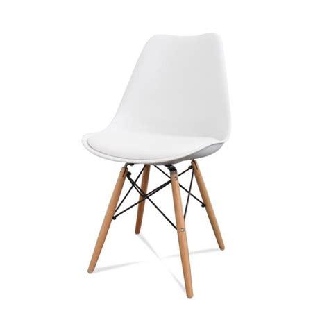 chaises blanches pas cher lot de 2 chaises design ormond dsw couleur blanc achat