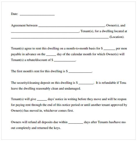 Free Lease Agreement Template Word Rental Agreement Template Free Top Form Templates Free