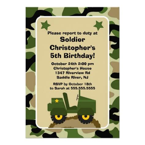 army birthday invitation templates