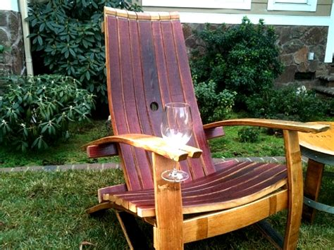 wine barrel adirondack chair with wine glass holder