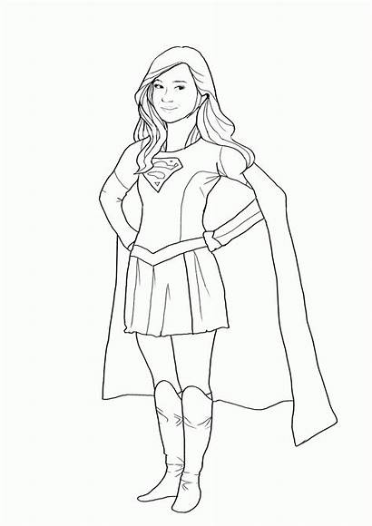 Supergirl Coloring Pages Super Drawing Easy Template