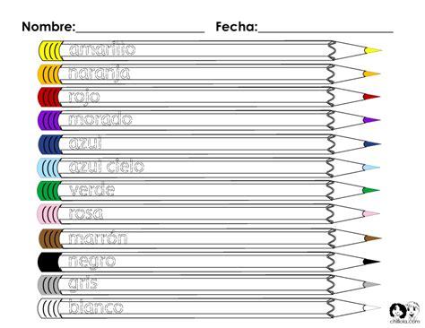 Spanish Color Worksheet Kids