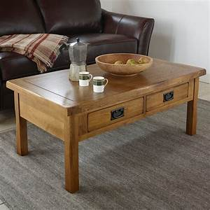original rustic 4 drawer coffee table in solid oak With oak coffee tables with storage space
