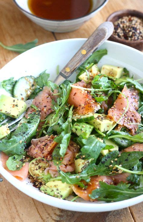 Smoked salmon, fresh spinach leaves, canola oil, nonstick cooking. Smoked Salmon Salad with Japanese Ponzu Dressing by ...