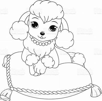 Poodle Coloring Animal Vector Dog Pets Illustration