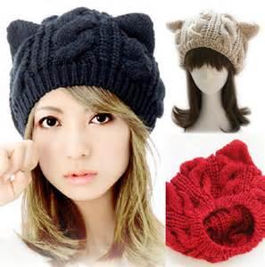 cat ear hat horns cat ear winter beanie crochet braided