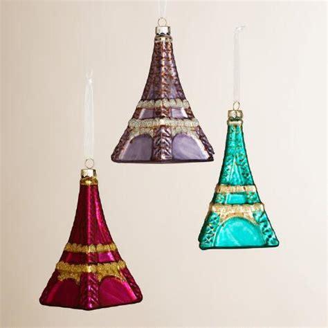 cut crystal eiffel tower xmas ornament glass eiffel tower ornaments set of 3 world market