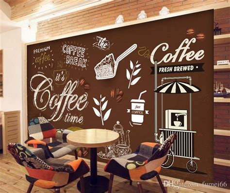 There is something about a coffee shop that captivates you. Custom Any Size European Style Retro Hand Painted Poster Mural Wallpaper Coffee Shop Restaurant ...