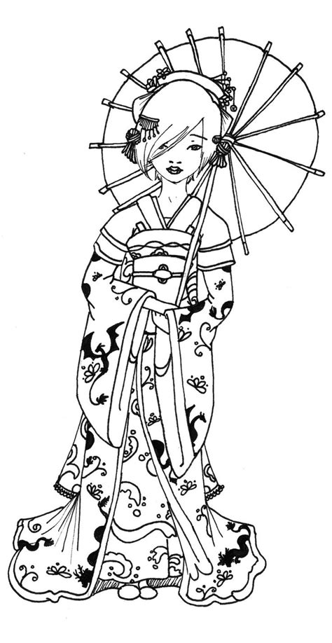 geisha coloring pages googleda ara adult coloring