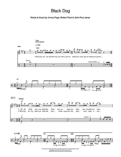 led zeppelin black dog sheet  notes chords