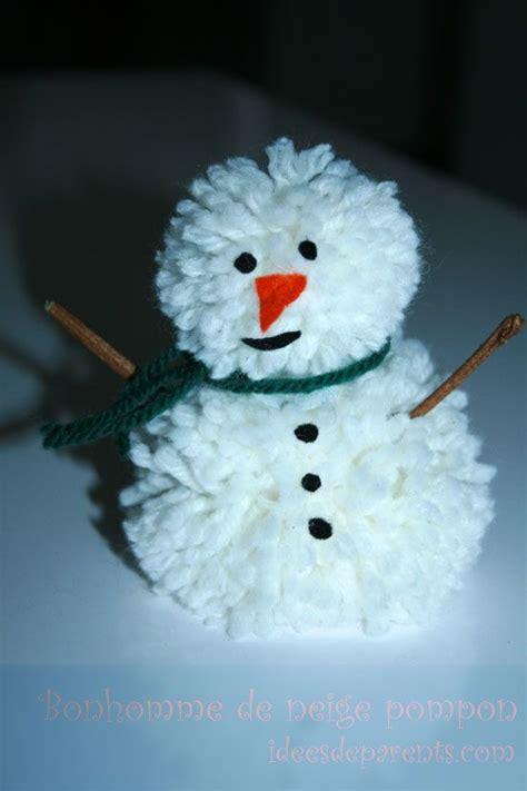 bricolage deco de noel bonhomme de neige pompon bricolage enfants noel atelier noel and decoration